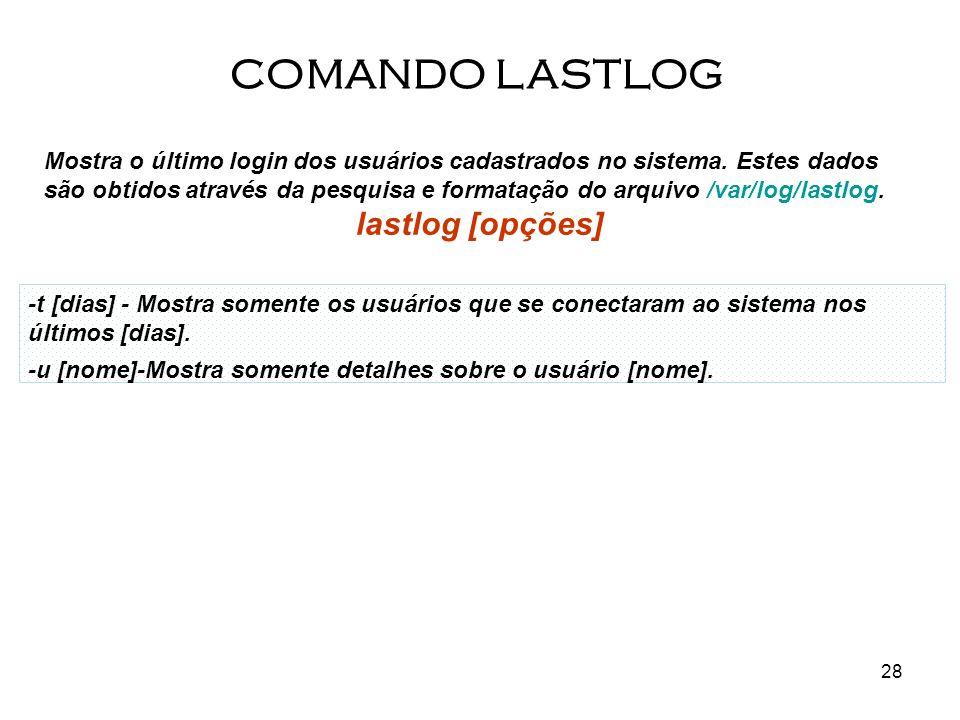 COMANDO LASTLOG lastlog [opções]